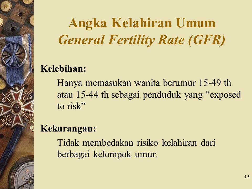 """15 Angka Kelahiran Umum General Fertility Rate (GFR) Kelebihan: Hanya memasukan wanita berumur 15-49 th atau 15-44 th sebagai penduduk yang """"exposed t"""