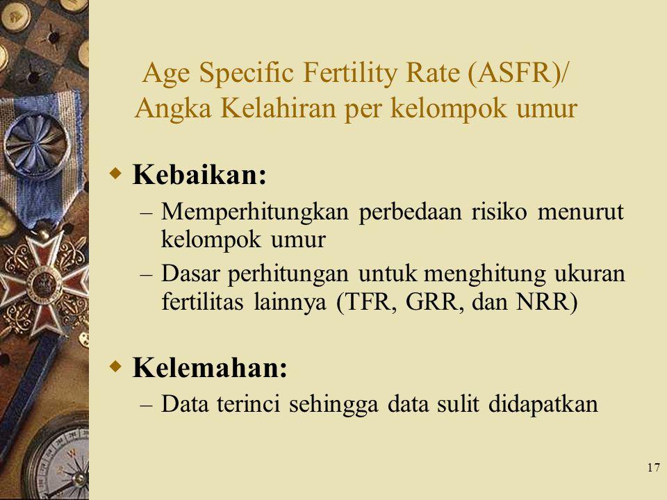 17  Kebaikan: – Memperhitungkan perbedaan risiko menurut kelompok umur – Dasar perhitungan untuk menghitung ukuran fertilitas lainnya (TFR, GRR, dan