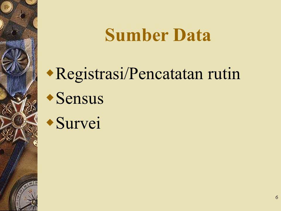 7 Sumber Data: Registrasi  Statistik kelahiran seperti akte kelahiran  Kelemahan: – Ketepatan definisi yang dipakai – Kelengkapan registrasi – Ketepatan alokasi tempat – Ketepatan alokasi waktu  Penyebab: – Penduduk tidak tahu – Penduduk tidak memahami pentingya registrasi kelahiran