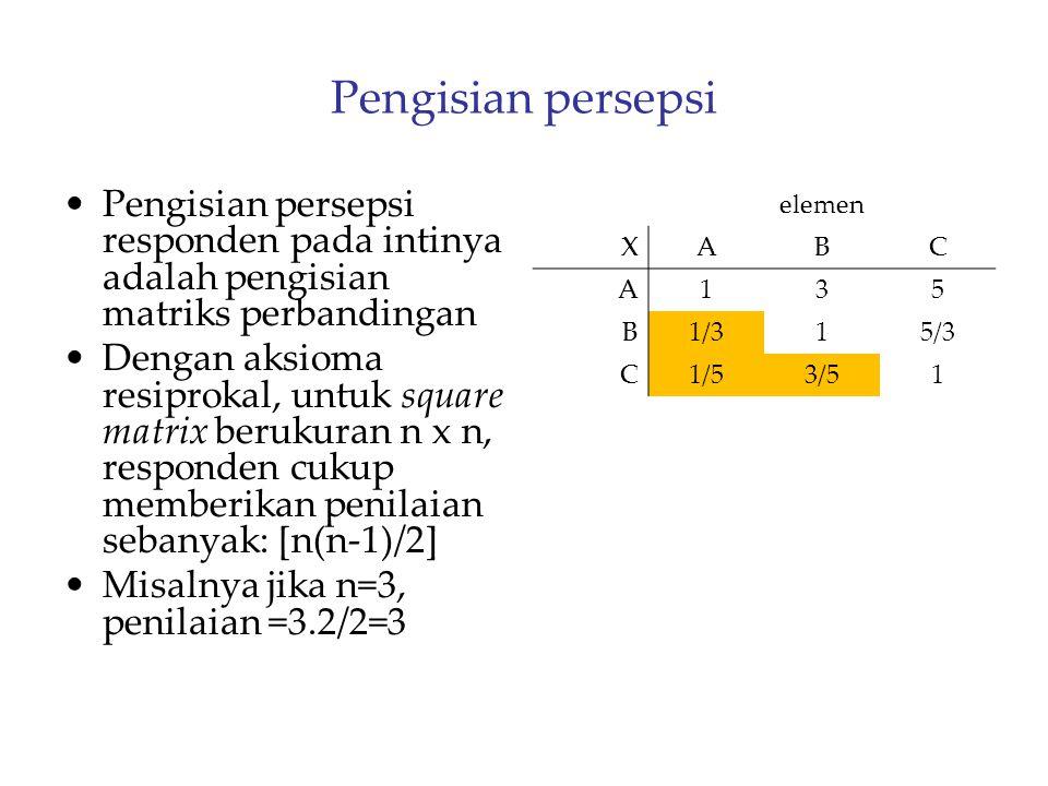 Pengisian persepsi Pengisian persepsi responden pada intinya adalah pengisian matriks perbandingan Dengan aksioma resiprokal, untuk square matrix beru