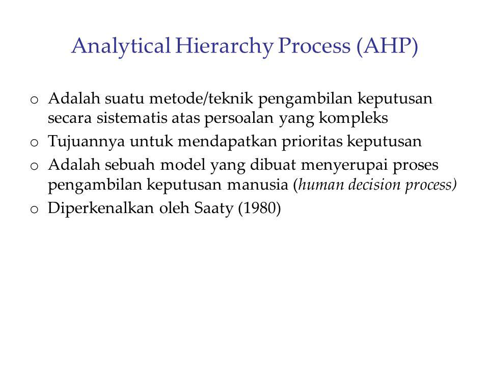 Analytical Hierarchy Process (AHP) o Adalah suatu metode/teknik pengambilan keputusan secara sistematis atas persoalan yang kompleks o Tujuannya untuk
