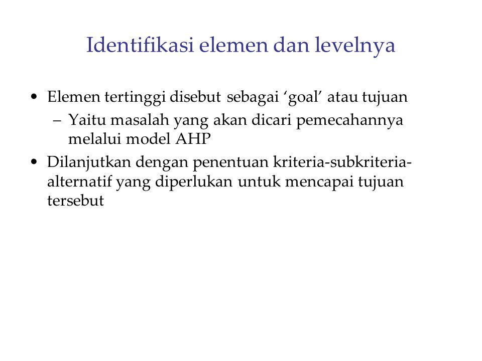 Identifikasi elemen dan levelnya Elemen tertinggi disebut sebagai 'goal' atau tujuan –Yaitu masalah yang akan dicari pemecahannya melalui model AHP Di