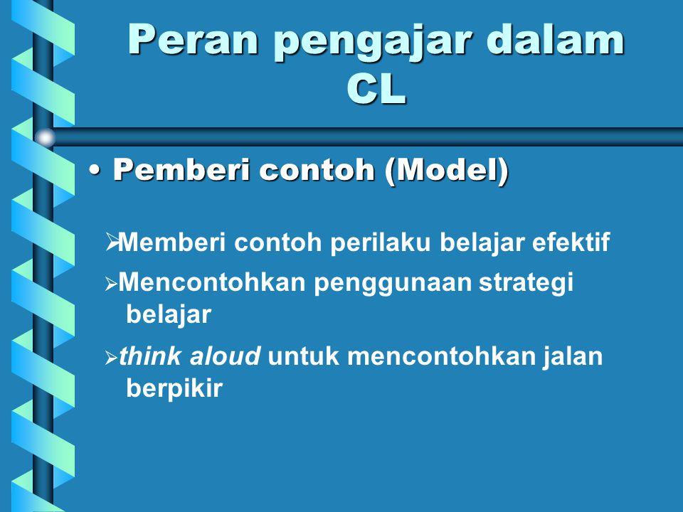 Peran pengajar dalam CL Fasilitator:Fasilitator:  mengatur lingkungan fisik  memberikan /menunjukkan sumber-sumber info  menciptakan iklim kondusif, yang mendorong mahasiswa utk mememiliki sikap & tingkah laku ttn.
