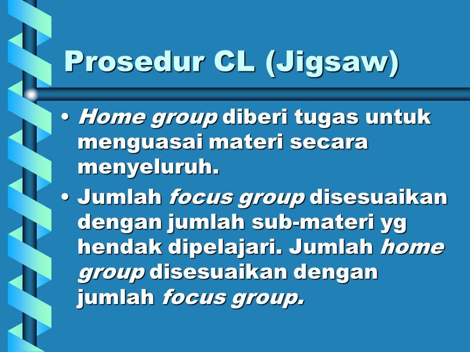 Prosedur CL (Jigsaw) Masing-masing peserta didik ditempatkan dalam dua kelompok: focus group dan home group.Masing-masing peserta didik ditempatkan dalam dua kelompok: focus group dan home group.