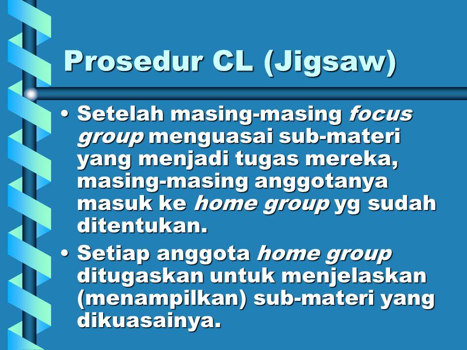 Prosedur CL (Jigsaw) Home group diberi tugas untuk menguasai materi secara menyeluruh.Home group diberi tugas untuk menguasai materi secara menyeluruh.
