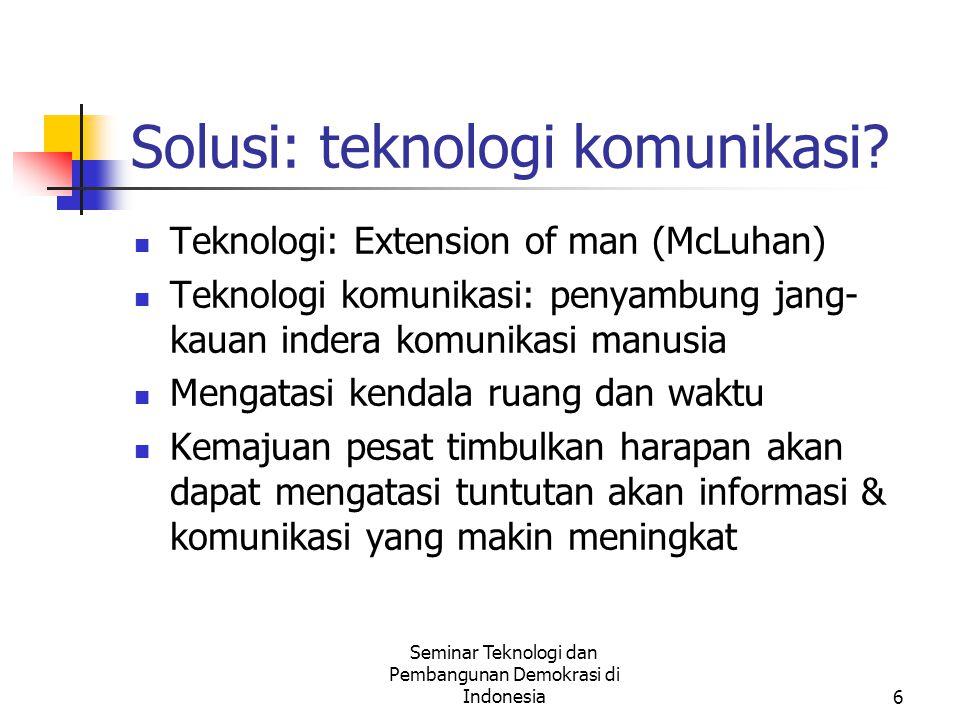 Seminar Teknologi dan Pembangunan Demokrasi di Indonesia7 Teknologi mana u/demokratisasi.