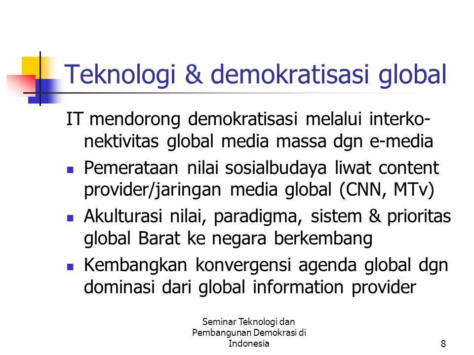 Seminar Teknologi dan Pembangunan Demokrasi di Indonesia9 Demokrasi langsung.