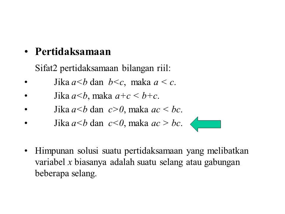 Pertidaksamaan Sifat2 pertidaksamaan bilangan riil: Jika a<b dan b<c, maka a < c. Jika a<b, maka a+c < b+c. Jika a 0, maka ac < bc. Jika a bc. Himpuna