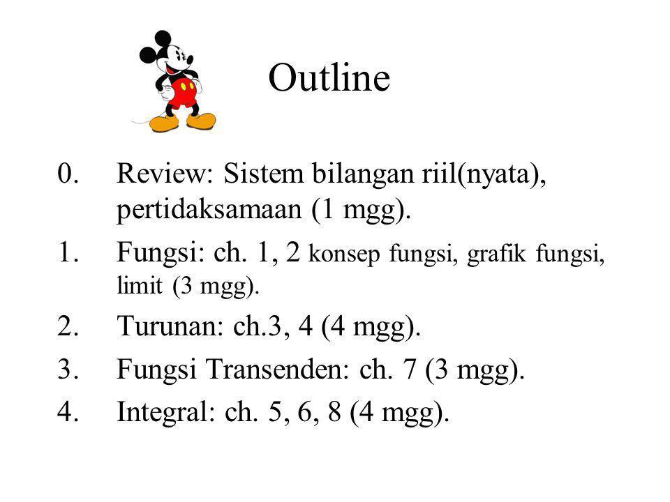 Outline 0.Review: Sistem bilangan riil(nyata), pertidaksamaan (1 mgg).