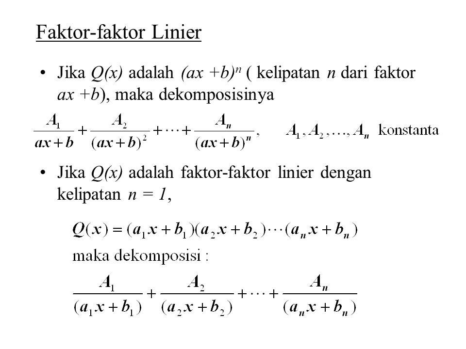 Faktor-faktor Linier Jika Q(x) adalah (ax +b) n ( kelipatan n dari faktor ax +b), maka dekomposisinya Jika Q(x) adalah faktor-faktor linier dengan kel