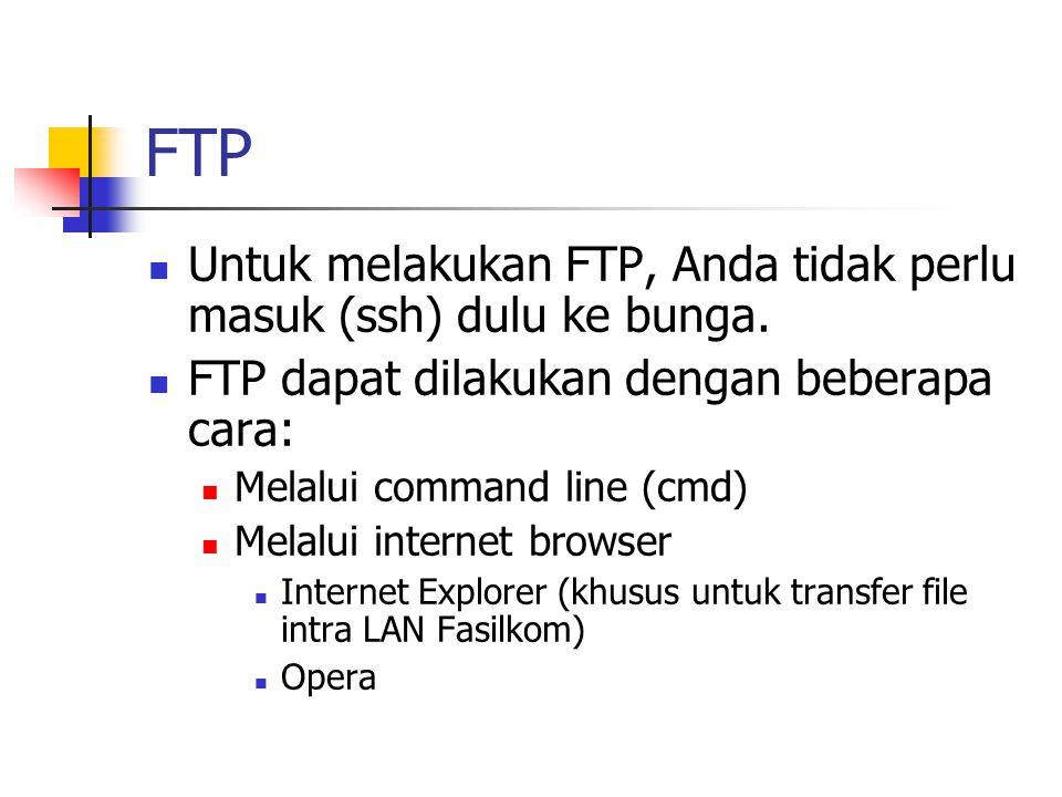 Untuk melakukan FTP, Anda tidak perlu masuk (ssh) dulu ke bunga.