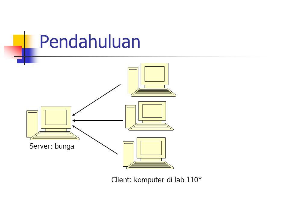Pendahuluan Server: bunga Client: komputer di lab 110*