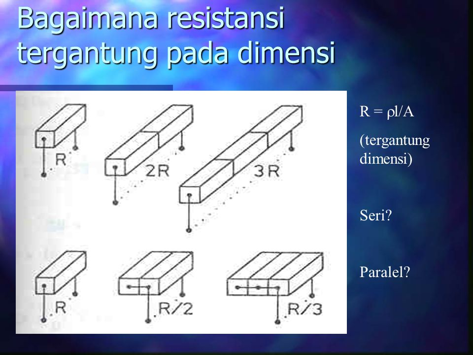 Bagaimana resistansi tergantung pada dimensi R =  l/A (tergantung dimensi) Seri? Paralel?