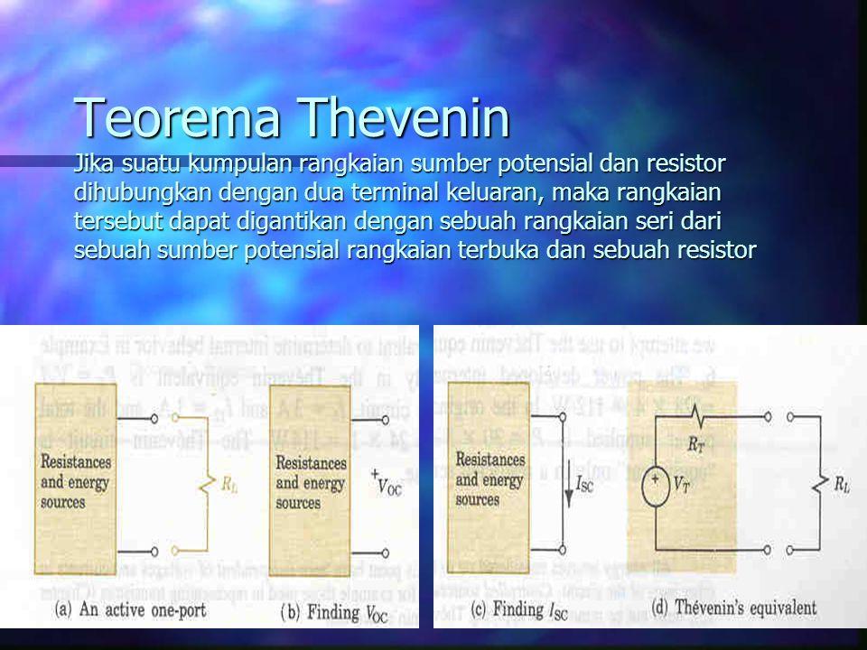 Teorema Thevenin Jika suatu kumpulan rangkaian sumber potensial dan resistor dihubungkan dengan dua terminal keluaran, maka rangkaian tersebut dapat d