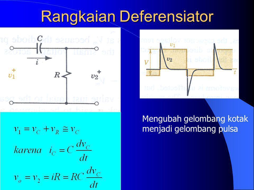 Contoh: Jika V = 5 V, R = 600 ohm dan C = 33 pF a) Saklar pada posisi 2 untuk periode waktu yang cukup lama sehingga muatan kapasitor telah secara sempurna terlucuti.