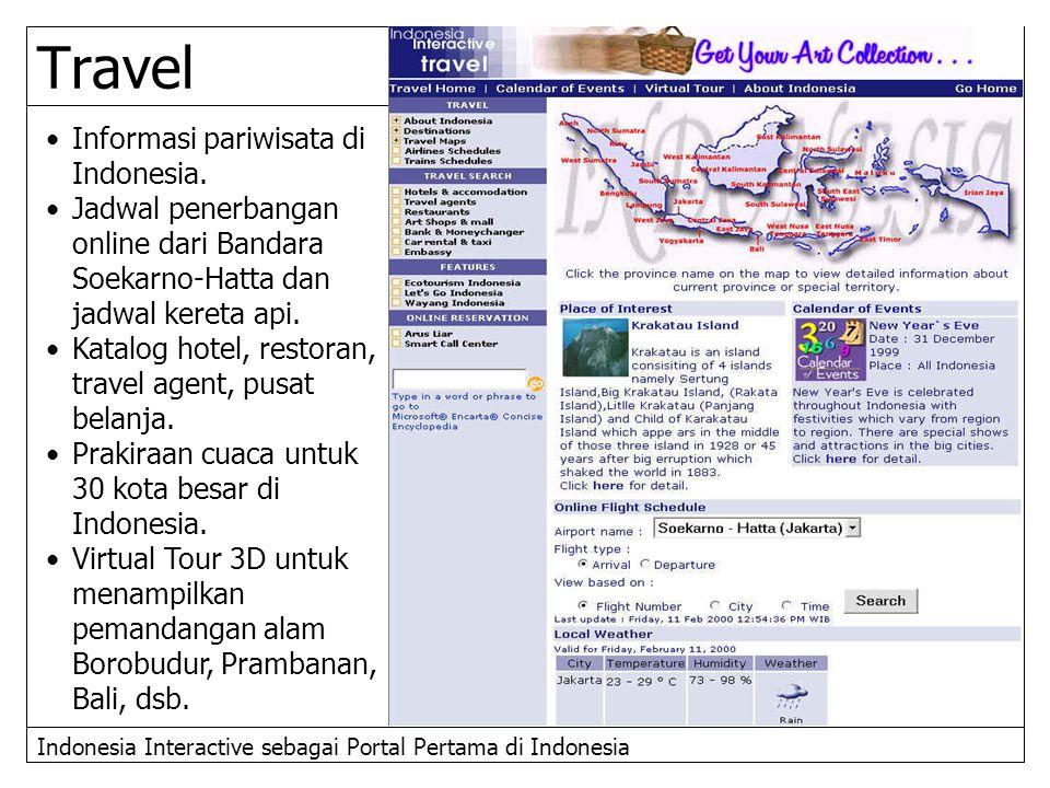 Indonesia Interactive sebagai Portal Pertama di Indonesia Informasi pariwisata di Indonesia. Jadwal penerbangan online dari Bandara Soekarno-Hatta dan