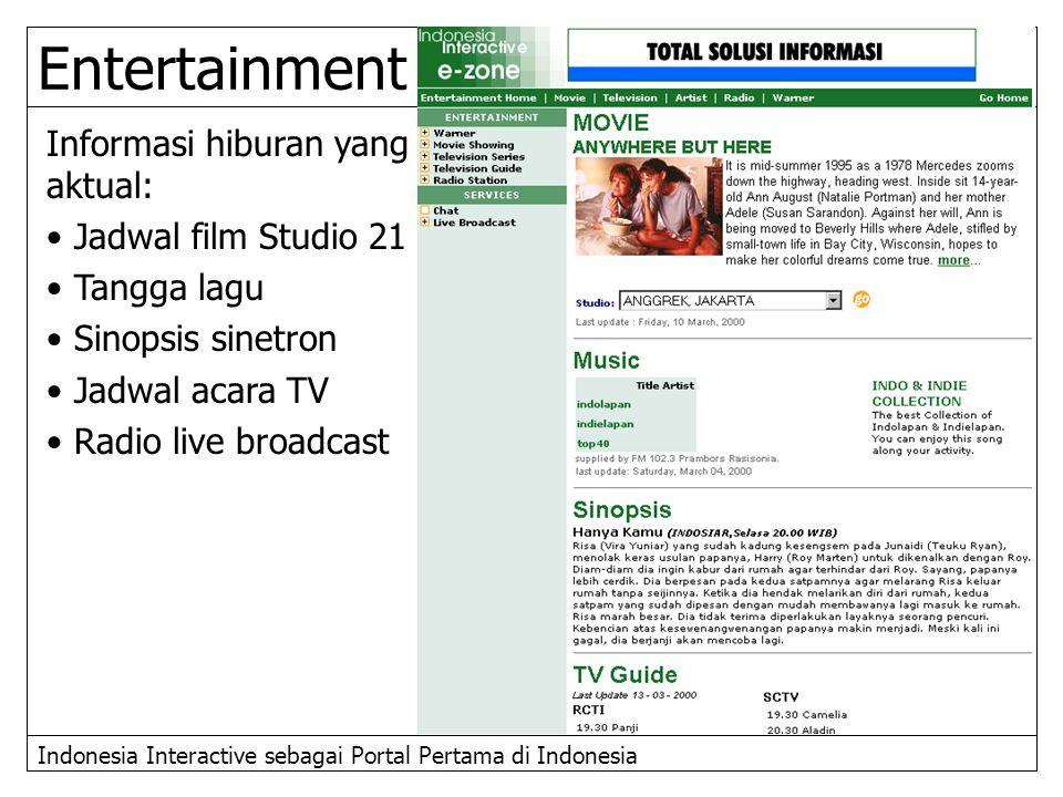 Indonesia Interactive sebagai Portal Pertama di Indonesia Entertainment Informasi hiburan yang aktual: Jadwal film Studio 21 Tangga lagu Sinopsis sine