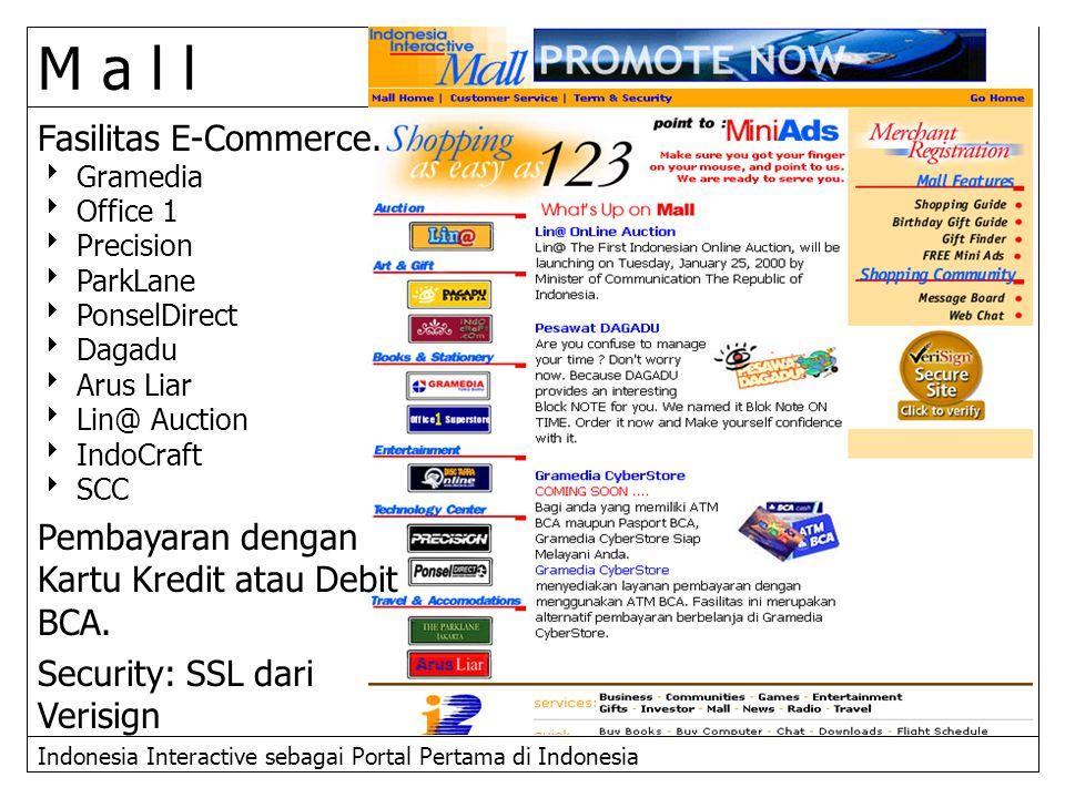 Indonesia Interactive sebagai Portal Pertama di Indonesia M a l l Fasilitas E-Commerce.  Gramedia  Office 1  Precision  ParkLane  PonselDirect 