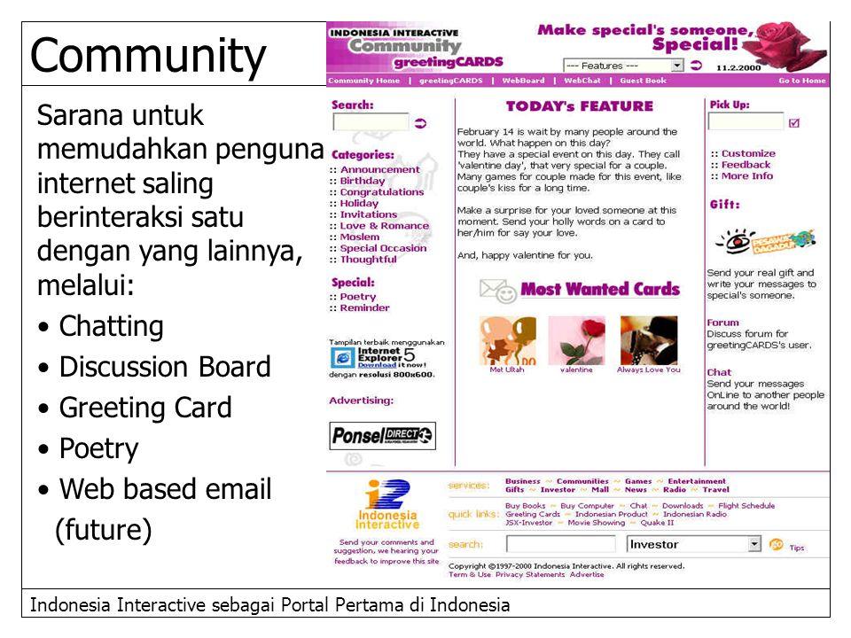 Indonesia Interactive sebagai Portal Pertama di Indonesia Sarana untuk memudahkan penguna internet saling berinteraksi satu dengan yang lainnya, melal
