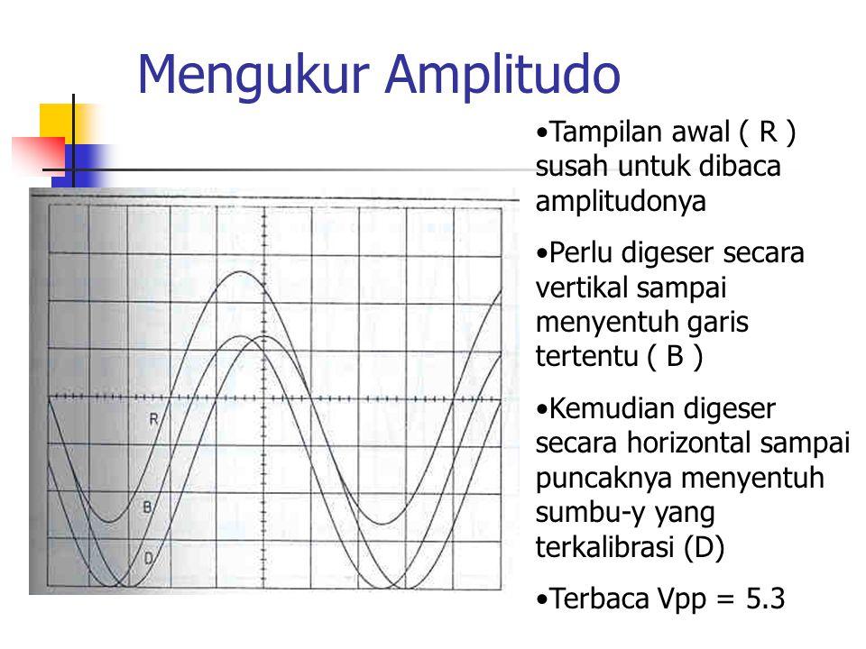 Mengukur Amplitudo Tampilan awal ( R ) susah untuk dibaca amplitudonya Perlu digeser secara vertikal sampai menyentuh garis tertentu ( B ) Kemudian di