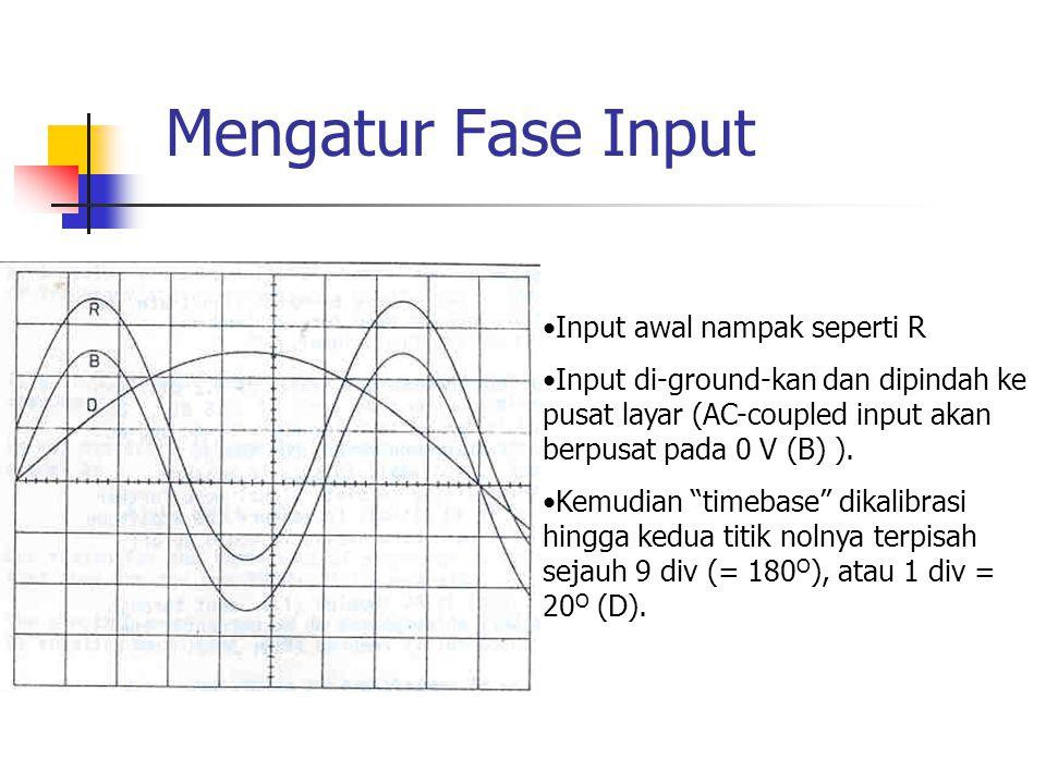 Mengatur Fase Input Input awal nampak seperti R Input di-ground-kan dan dipindah ke pusat layar (AC-coupled input akan berpusat pada 0 V (B) ). Kemudi