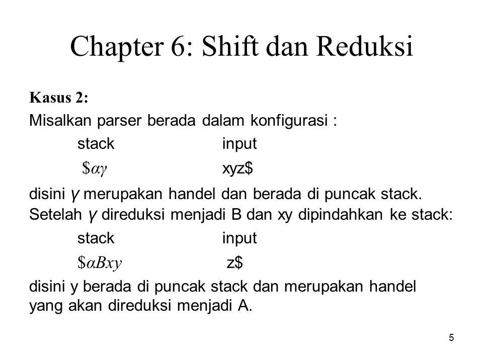 6 Chapter 6: Shift dan Reduksi Contoh : Konflik dalam penguraian shift reduksi : 1.