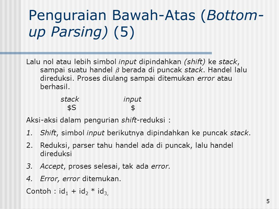 5 Penguraian Bawah-Atas (Bottom- up Parsing) (5) Lalu nol atau lebih simbol input dipindahkan (shift) ke stack, sampai suatu handel  berada di puncak
