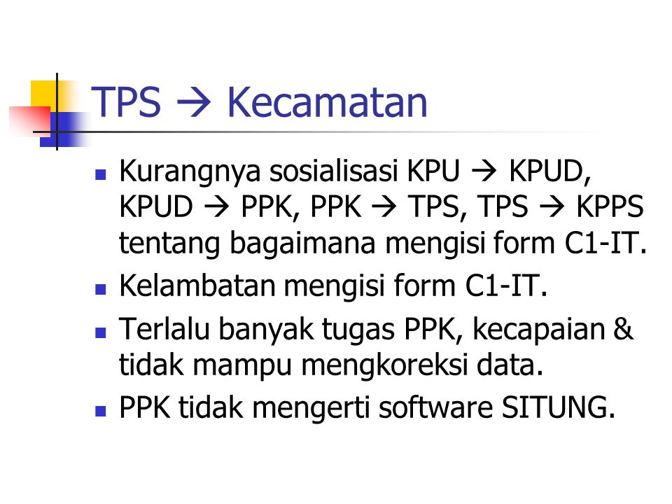 TPS  Kecamatan Kurangnya sosialisasi KPU  KPUD, KPUD  PPK, PPK  TPS, TPS  KPPS tentang bagaimana mengisi form C1-IT. Kelambatan mengisi form C1-I