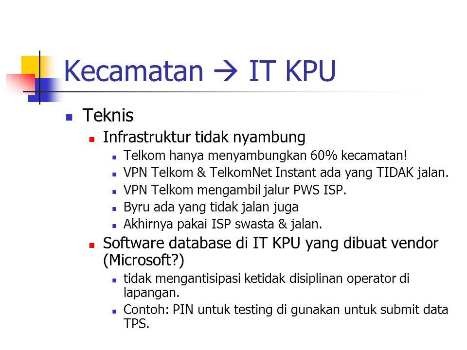 Kecamatan  IT KPU Teknis Infrastruktur tidak nyambung Telkom hanya menyambungkan 60% kecamatan! VPN Telkom & TelkomNet Instant ada yang TIDAK jalan.