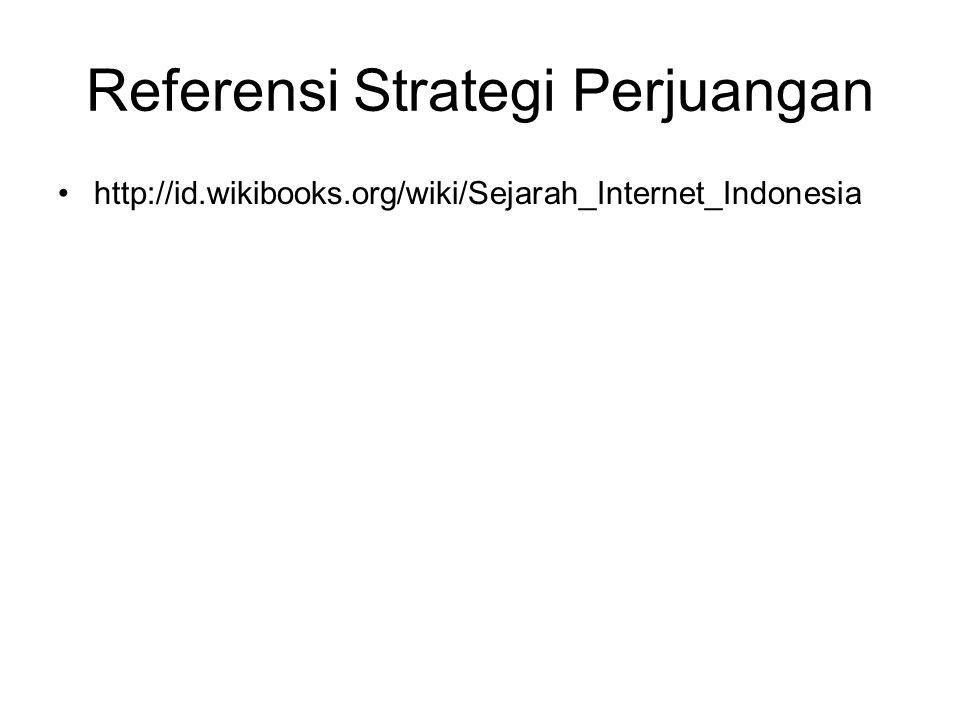 Referensi Strategi Perjuangan http://id.wikibooks.org/wiki/Sejarah_Internet_Indonesia
