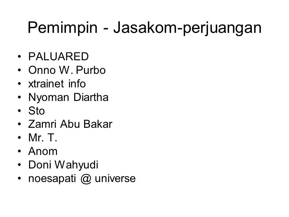 Pemimpin - Jasakom-perjuangan PALUARED Onno W. Purbo xtrainet info Nyoman Diartha Sto Zamri Abu Bakar Mr. T. Anom Doni Wahyudi noesapati @ universe