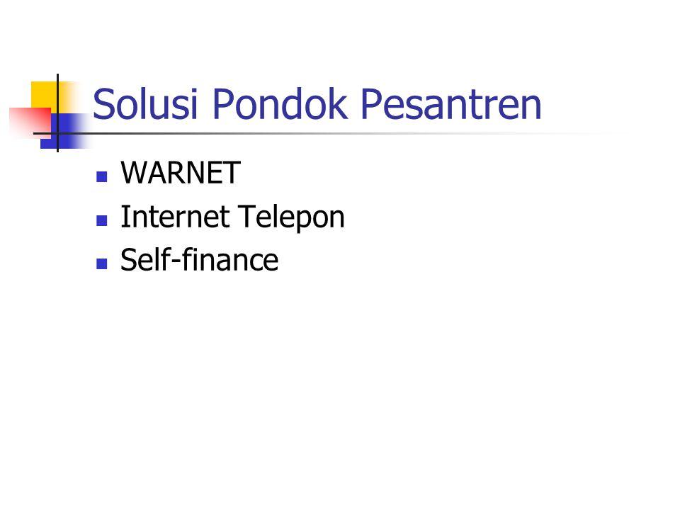 Solusi Pondok Pesantren WARNET Internet Telepon Self-finance