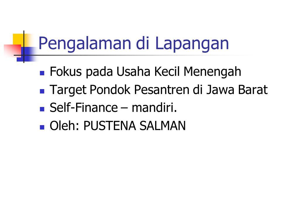 Pengalaman di Lapangan Fokus pada Usaha Kecil Menengah Target Pondok Pesantren di Jawa Barat Self-Finance – mandiri. Oleh: PUSTENA SALMAN