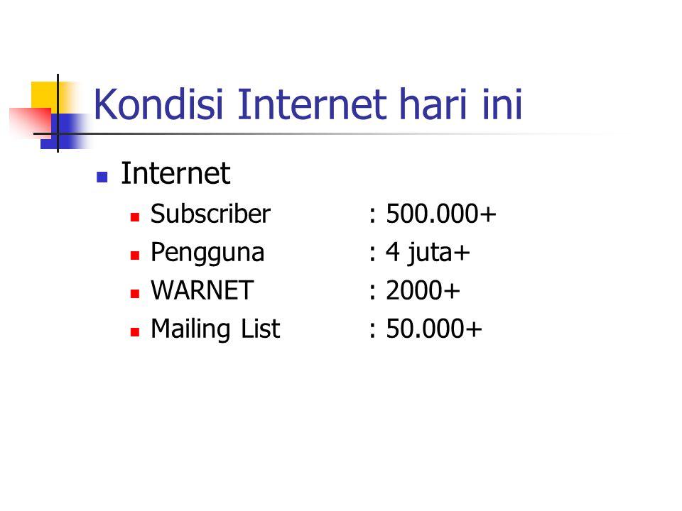 Kondisi Internet hari ini Internet Subscriber: 500.000+ Pengguna: 4 juta+ WARNET: 2000+ Mailing List: 50.000+
