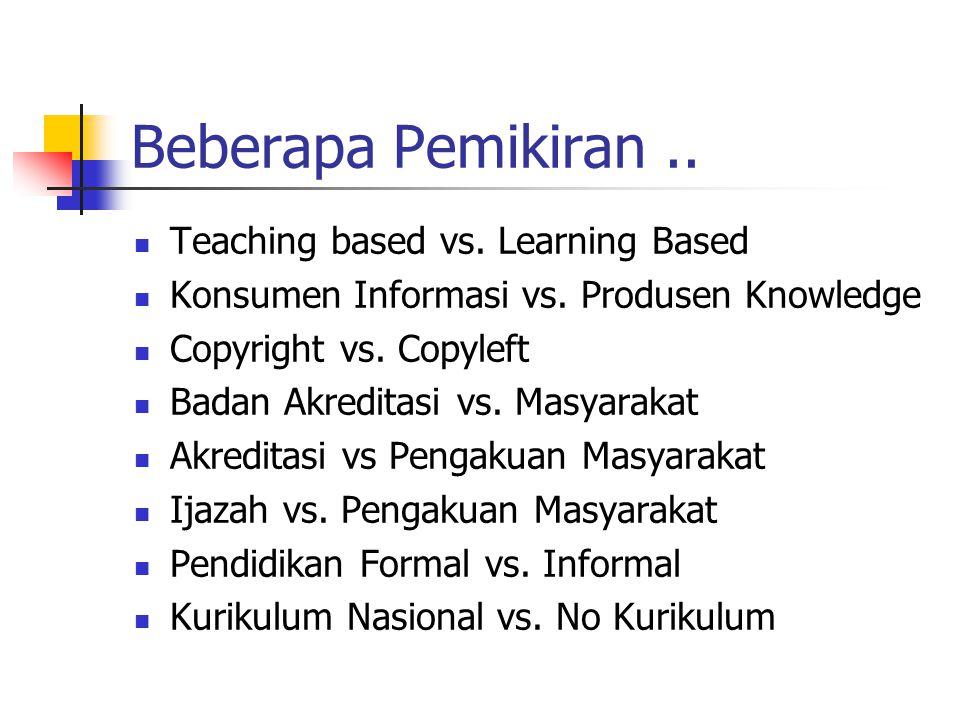Beberapa Pemikiran.. Teaching based vs. Learning Based Konsumen Informasi vs.