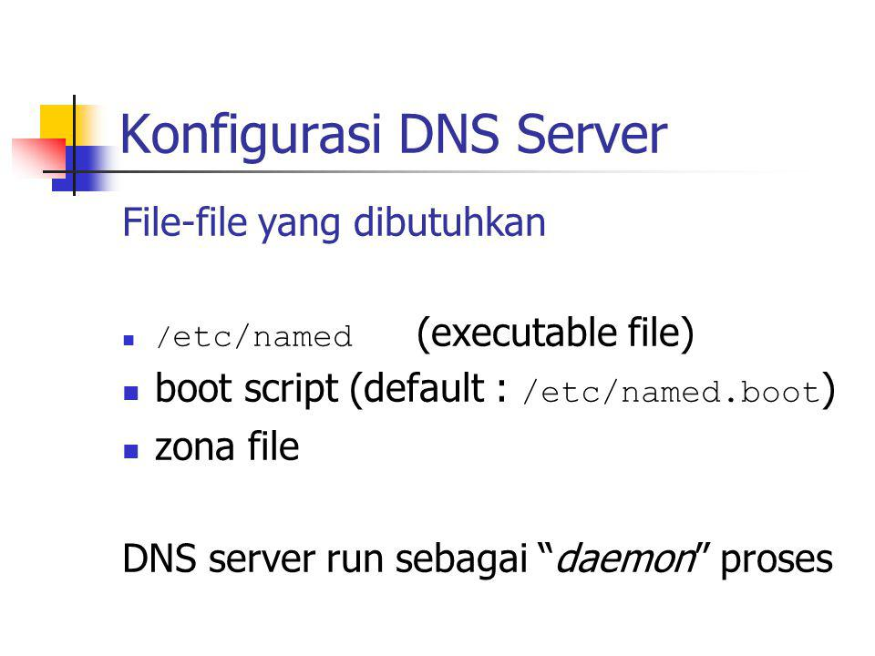 Konfigurasi DNS Server File-file yang dibutuhkan / etc/named (executable file) boot script (default : /etc/named.boot ) zona file DNS server run sebag