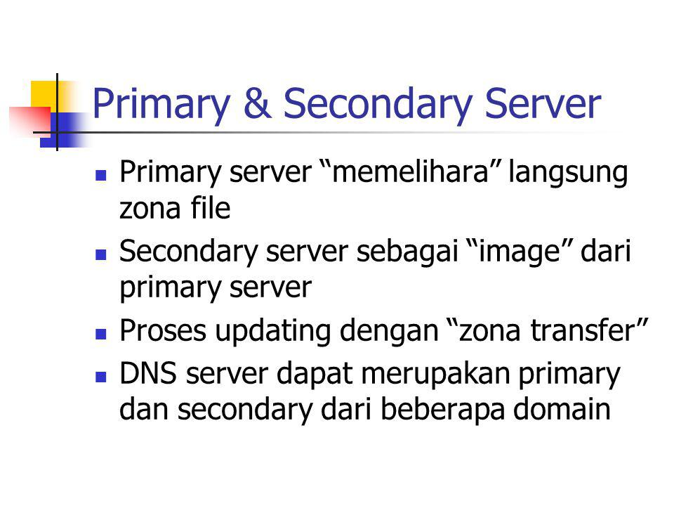 "Primary & Secondary Server Primary server ""memelihara"" langsung zona file Secondary server sebagai ""image"" dari primary server Proses updating dengan"