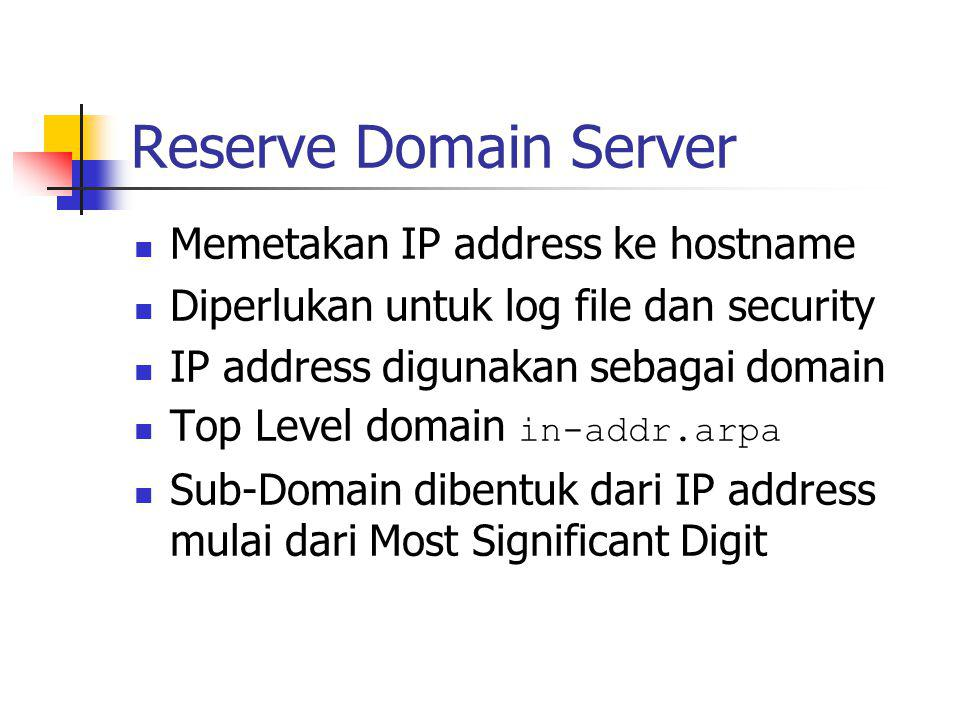 Reserve Domain Server Memetakan IP address ke hostname Diperlukan untuk log file dan security IP address digunakan sebagai domain Top Level domain in-