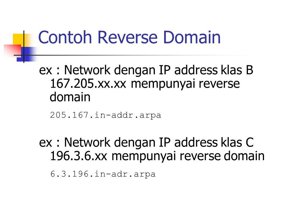Contoh Reverse Domain ex : Network dengan IP address klas B 167.205.xx.xx mempunyai reverse domain 205.167.in-addr.arpa ex : Network dengan IP address