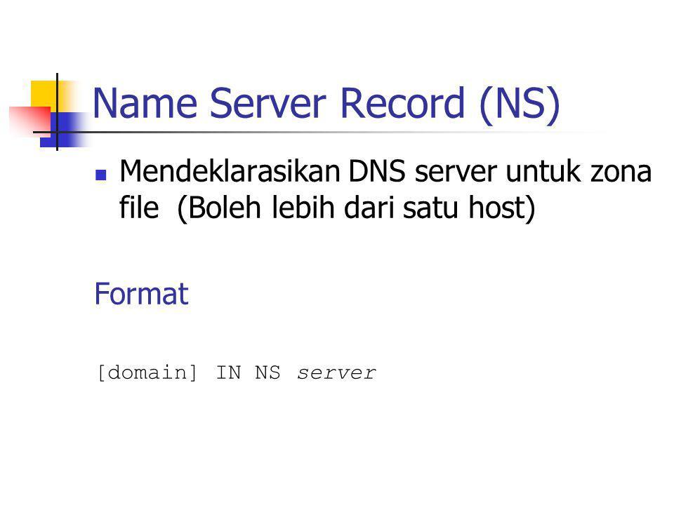 Name Server Record (NS) Mendeklarasikan DNS server untuk zona file (Boleh lebih dari satu host) Format [domain] IN NS server