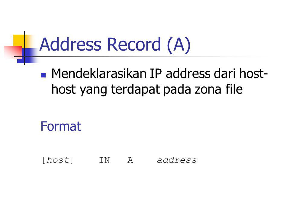 Address Record (A) Mendeklarasikan IP address dari host- host yang terdapat pada zona file Format [host]INA address