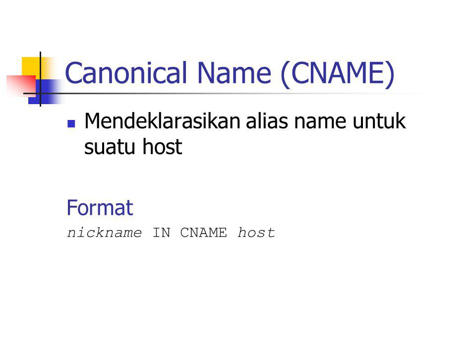 Canonical Name (CNAME) Mendeklarasikan alias name untuk suatu host Format nickname IN CNAME host