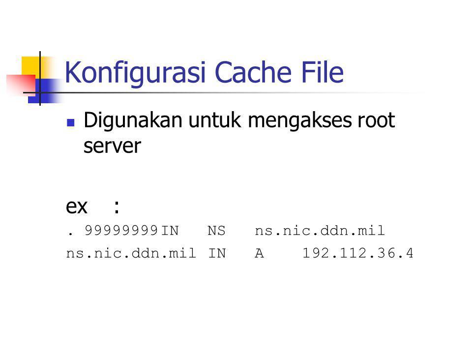 Konfigurasi Cache File Digunakan untuk mengakses root server ex:.99999999INNSns.nic.ddn.mil ns.nic.ddn.milINA192.112.36.4
