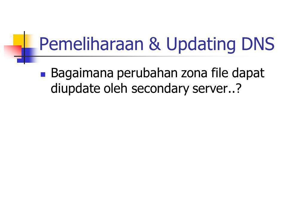 Pemeliharaan & Updating DNS Bagaimana perubahan zona file dapat diupdate oleh secondary server..?