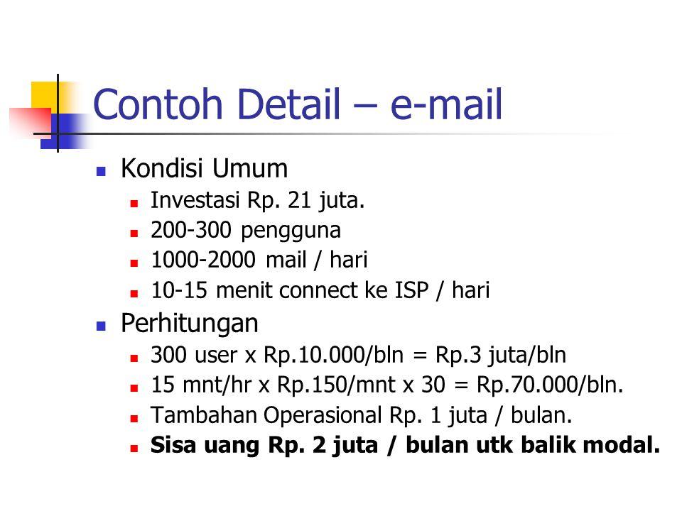 Contoh Detail – e-mail Kondisi Umum Investasi Rp. 21 juta. 200-300 pengguna 1000-2000 mail / hari 10-15 menit connect ke ISP / hari Perhitungan 300 us