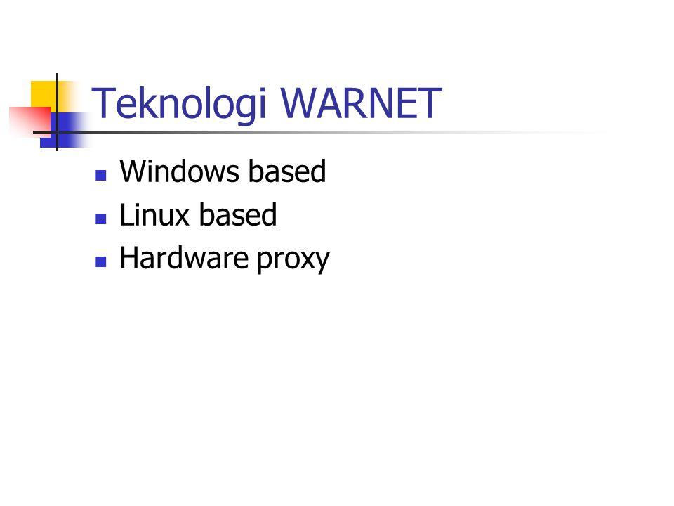 Teknologi WARNET Windows based Linux based Hardware proxy