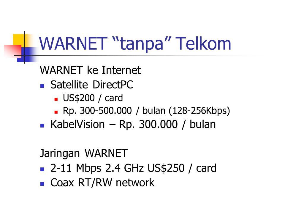 """WARNET """"tanpa"""" Telkom WARNET ke Internet Satellite DirectPC US$200 / card Rp. 300-500.000 / bulan (128-256Kbps) KabelVision – Rp. 300.000 / bulan Jari"""