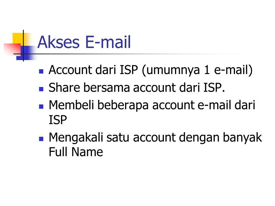 Akses E-mail Account dari ISP (umumnya 1 e-mail) Share bersama account dari ISP. Membeli beberapa account e-mail dari ISP Mengakali satu account denga