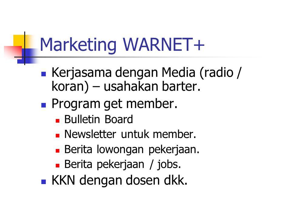 Marketing WARNET+ Kerjasama dengan Media (radio / koran) – usahakan barter. Program get member. Bulletin Board Newsletter untuk member. Berita lowonga