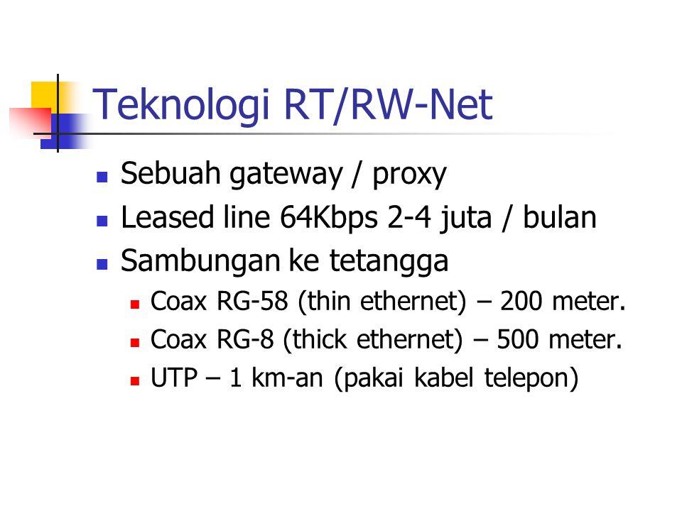 Teknologi RT/RW-Net Sebuah gateway / proxy Leased line 64Kbps 2-4 juta / bulan Sambungan ke tetangga Coax RG-58 (thin ethernet) – 200 meter. Coax RG-8